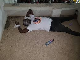 BREAKING: Legon Cities FC supporter went down on the floor after his side 3-1 defeat to giants Asante Kotoko in the capital last Friday