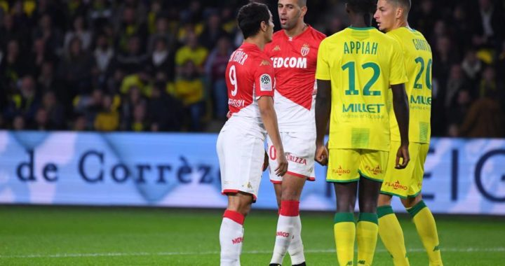 Nantes midfielder Dennis Appiah reacts to defeat to AS Monaco in French Ligue 1