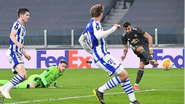 Man United have foot in Europa League last 16 after beating Real Sociedad 4-0 in Turin as Bruno Fernandes makes headlines with a brace