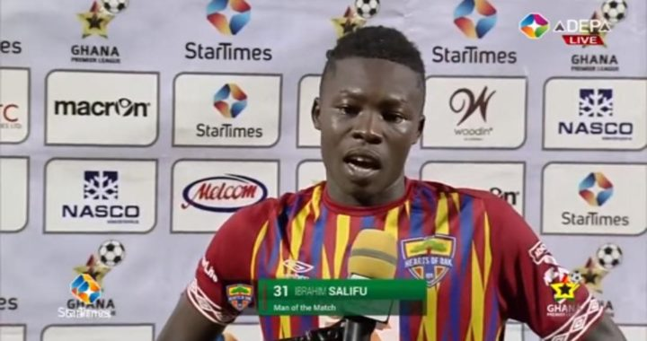 Hearts of Oak's Ibrahim Salifu take home Man of the Match award in King Faisal victory