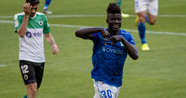 Ghanaian youngster Samuel Obeng on target for Oviedo against Almeria in Spanish second tier
