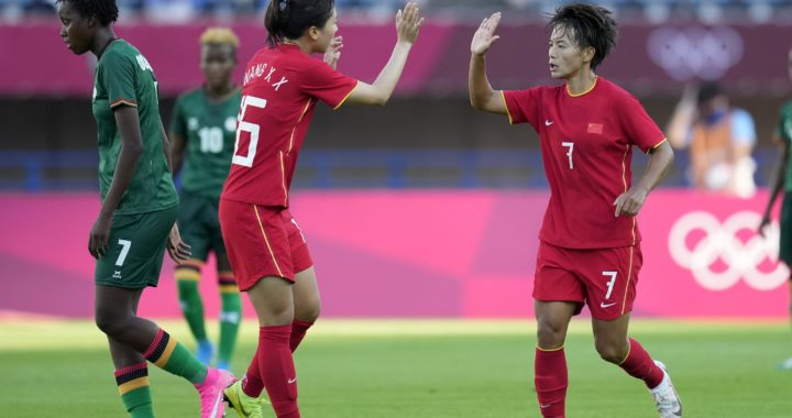 Zambia draw 4-4 with 10-women China In second Olympiac Women's football as Barbara Banda scores second consecutive hat-trick