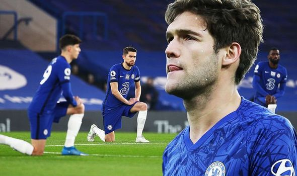 Chelsea defender Marcos Alonso adopts new ant-racism gesture before matches after taking knee losing strength